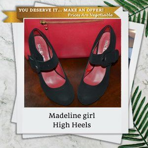 Madeline girl   Black Suede High Heels